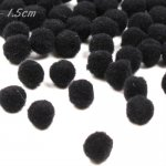 P1111BL Black Pom Pom Balls 15mm (100pcs)