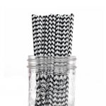 PPS2-75 Chevron Paper Straws Black(20pcs)