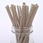 PPS2-88 Chevron Paper Straws Gold(20pcs)