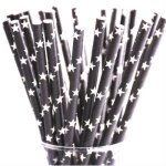 PPS4-163 Black Star Straws (20pcs)