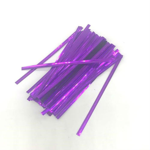 "P1014PUR Purple Metallic Twist Ties 4""(L) 4mm(W) (100pcs)"