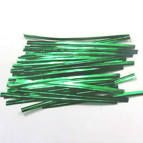 "P1014G Green Metallic Twist Ties 4""(L) 4mm(W) (100pcs)"