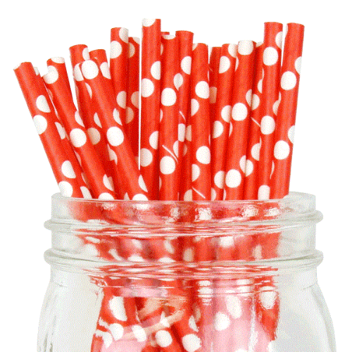 PPS1-52 Dot Paper Straws Red (20pcs)